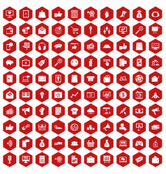 100 digital marketing icons hexagon red vector