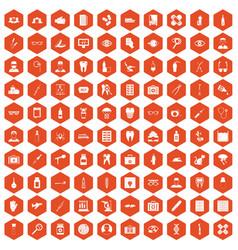 100 doctor icons hexagon orange vector image vector image