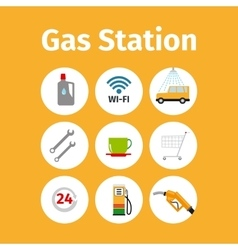 Gas station icons in circle set vector