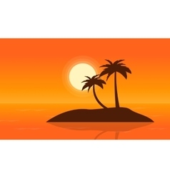 Islands on sea at sunset landscape vector image