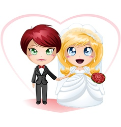 Lesbian Brides In Dress And Suit Getting Married vector image
