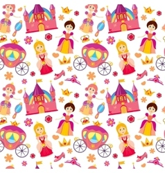 Beautiful princess seamless pattern magic vector image