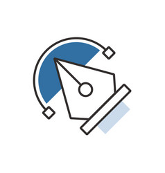 Blue pen tool icon vector