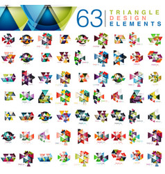 Mega collection of 63 modern color triangles vector