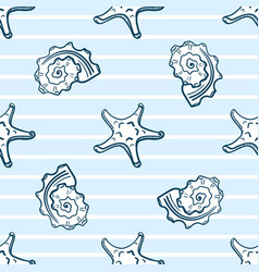 Starfishes and seashells seamless pattern vector