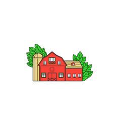 vintage american barn leaves mono line vector image