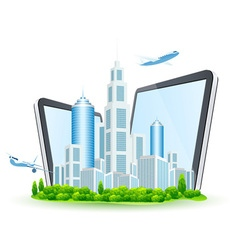 Icon Business City with Two Tablet Computers vector image