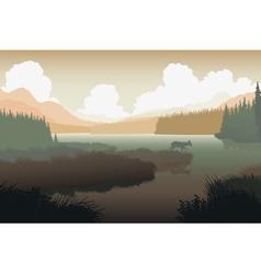 River landscape deer vector image