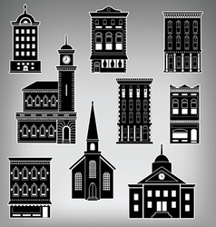 Main st buildings vector