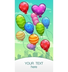Vertical banner with cartoon balloons vector