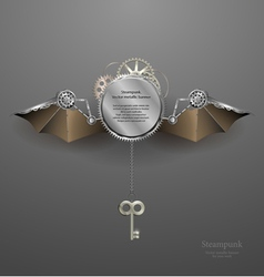 Industrial metallic banner with wings and key vector