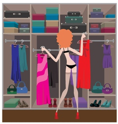 Woman in a wardrobe room vector