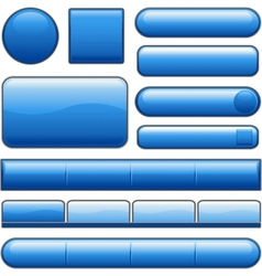Blue glossy website internet media buttons vector