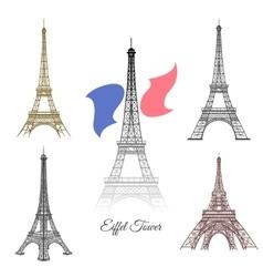 Hand drawn Eiffel Tower in Paris vector image