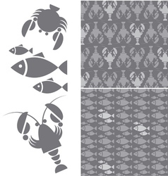 Seafood pattern vector
