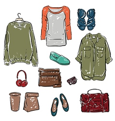 Woman clothing and accessories vector