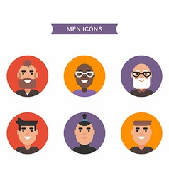 Icons of diverse smiling men bright colored flat vector