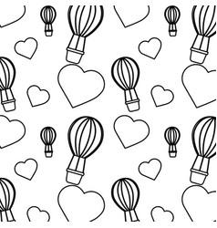 Air ballon love heart valentines day pattern vector