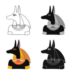 Anubis icon in cartoon style isolated on white vector
