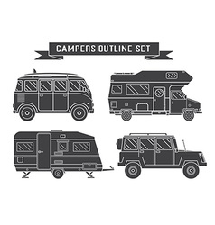 Auto travel cars and campers outline icons vector