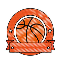 basketball ball emblem vector image vector image