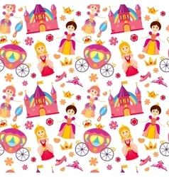 Beautiful princess seamless pattern magic vector image