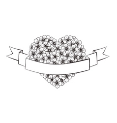 Black and white outline flowers in a heart shape vector