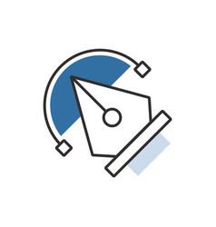 Blue pen tool icon vector