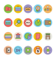 Business and Office Colored Icons 2 vector image vector image