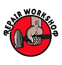 Color vintage repair workshop emblem vector