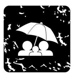 Family insurance concept icon grunge style vector