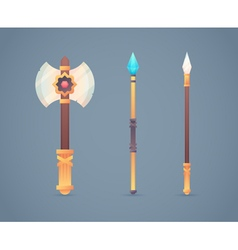 Fantasy medieval cold weapon set in flat-style vector