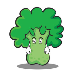 flat face broccoli chracter cartoon style vector image vector image