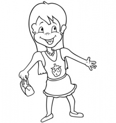 girl with summer dress vector image