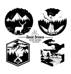 hand drawn logo set trendy collection of outdoor vector image vector image