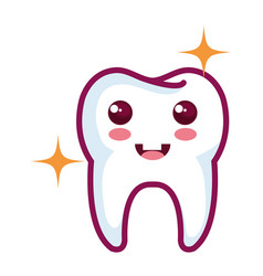Happy tooth character isolated icon vector