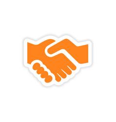 Icon sticker realistic design on paper handshake vector