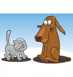 kitten and dog cartoon vector image vector image