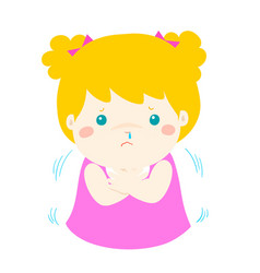 Little girl with a cold shivering cartoon vector