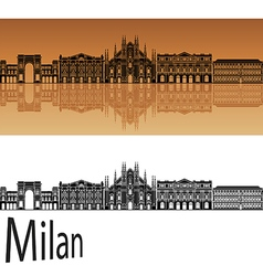 Milan skyline in orange vector