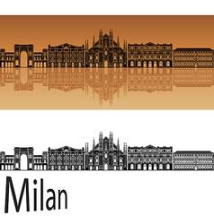 Milan skyline in orange vector image vector image