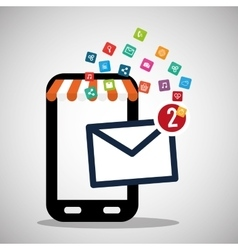 Mobile phone receiving email marketing virtual vector