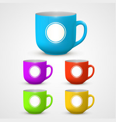 mug set colors vector image vector image