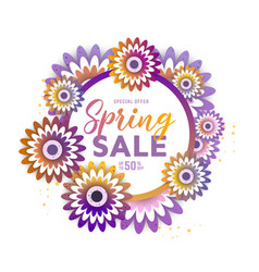 Paper art of spring sale vector