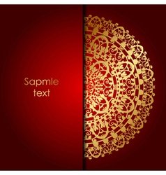 red background with gold ornament vector image vector image