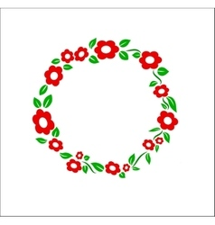Retro red flower ring frame decoration vector