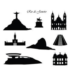 rio de janeiro city signs landmarks set cityscape vector image vector image