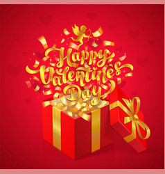 sant valentines day greeting design gold happy vector image vector image