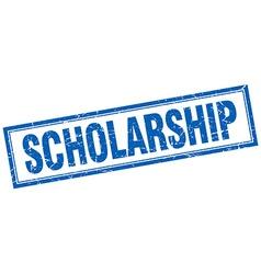 Scholarship blue square grunge stamp on white vector