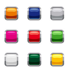 Select action with button icons set cartoon style vector